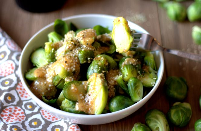 Simple and delicious brussels sprouts /w hemp hearts in a ginger-mustard-miso dressing. Healthy, vegetarian and gluten-free! Vegan option available.