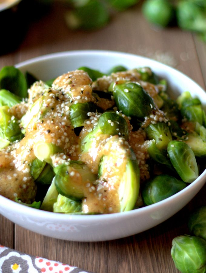 This ginger, mustard and miso dressing, combined with hemp hearts is a flavourful Asian-inspired combination. Ginger-mustard-miso Brussels sprouts is a healthy side for any lunch or dinner. Ready in 15 mins. Easily adaptable for gluten-free and vegan.