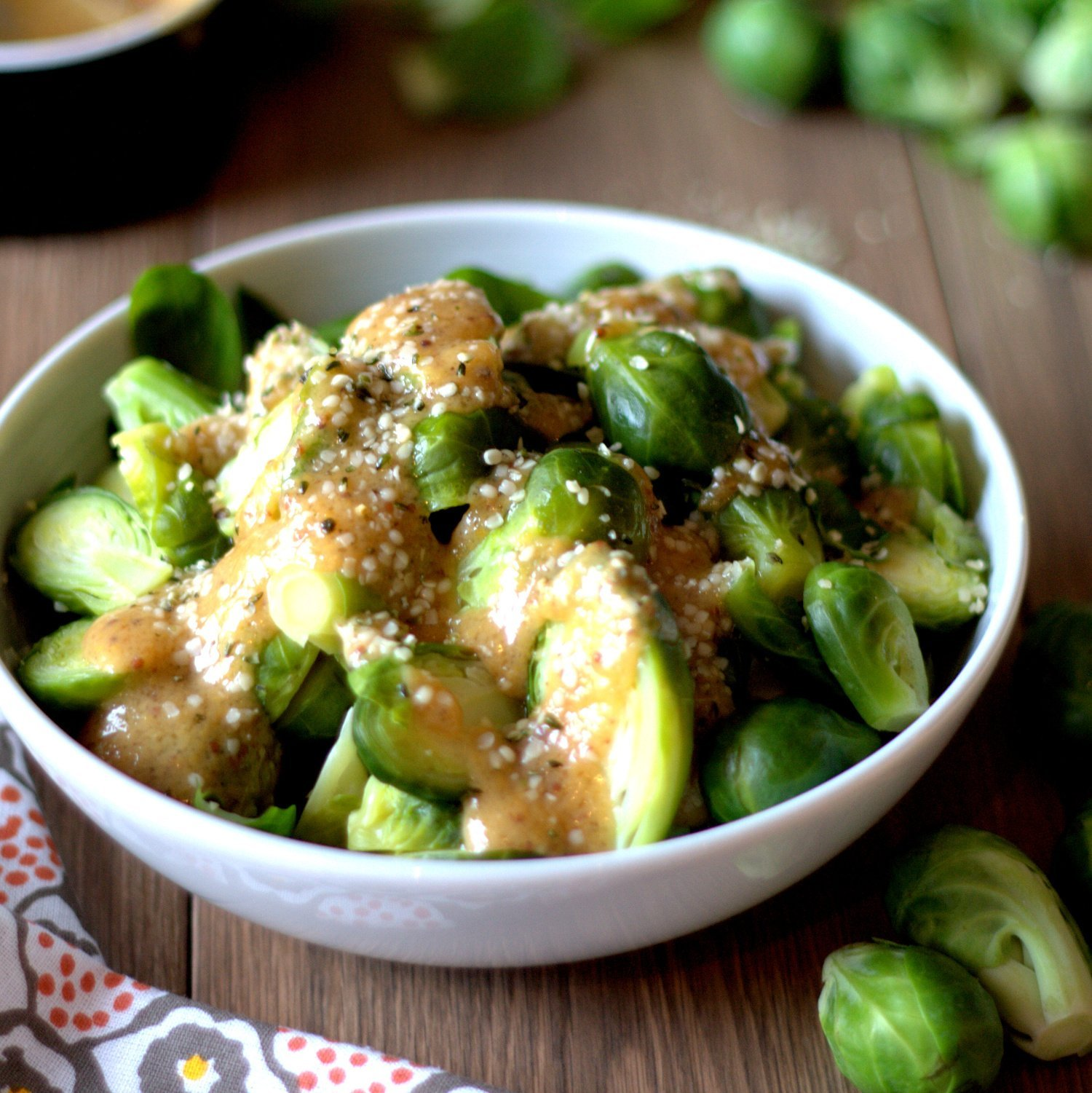 Ginger Mustard Miso Brussels Sprouts with Hemp Hearts