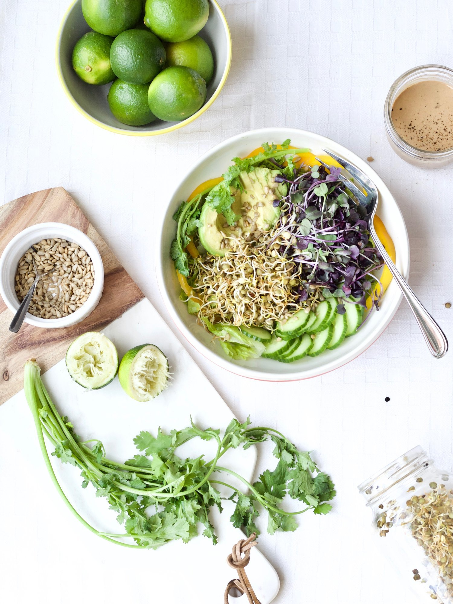 Sprouted French Green Lentils and Purple Radish Sprouts make a great looking salad! The tahini lime dressing is a perfect dressing for a salad containing sprouts. The dressing is also super versatile. Gluten-free and vegetarian!