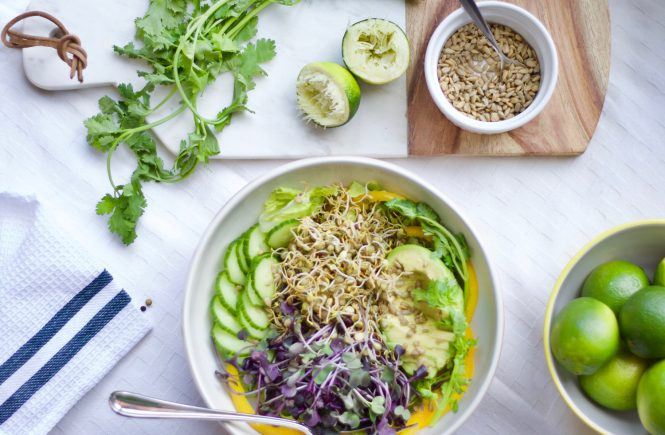 Sprouted French Green Lentils and Purple Radish Sprouts make a great looking salad! Plus all the nutritious goodies. The tahini+garlic+lime dressing is delicious & super versatile. Gluten-free and vegetarian!