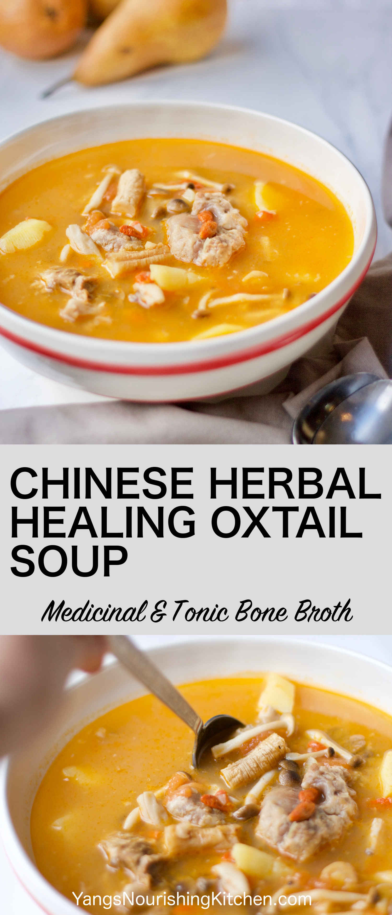 #bonebroth #tcm #oxtail This Chinese herbal healing oxtail soup is a classic nourishing recipe based on Traditional Chinese medicine. The oxtail soup provides the full range of health benefits of the bone broth. Coupled with the use of goji berries and codonopsis root, this Chinese herbal healing oxtail soup focuses on toning and strengthening Qi. Whether you are in a process of healing or just looking for a cozy and nourishing meal, it's a perfect recipe for the whole family in cold weather.