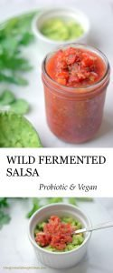 Wild Fermented Salsa is probiotic, vegan, gluten-free and raw! Add avocado for a quick probiotic guacamole.