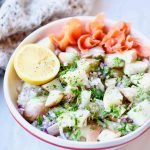 This smoked salmon potato salad with pickle juice dressing is absolutely delicious. Smoked salmon and potatoes are a match in heaven. The no-mayo dressing is made from leftover brine of the fermented cucumber pickles, adding the extra probiotic boost. Naturally gluten-free, dairy-free and refined-sugar free.