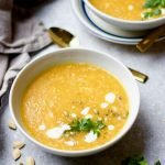 2 bowls of turkey quinoa pumpkin soup