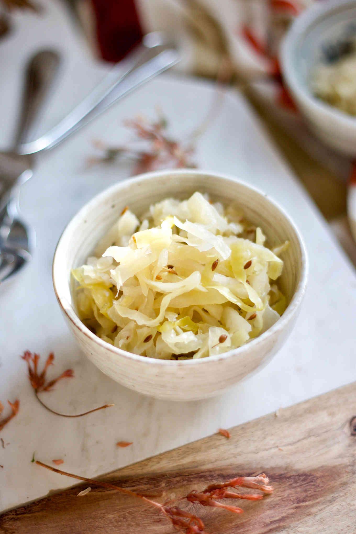 Homemade Fermented Sauerkraut W Caraway Seeds Yang S Nourishing Kitchen
