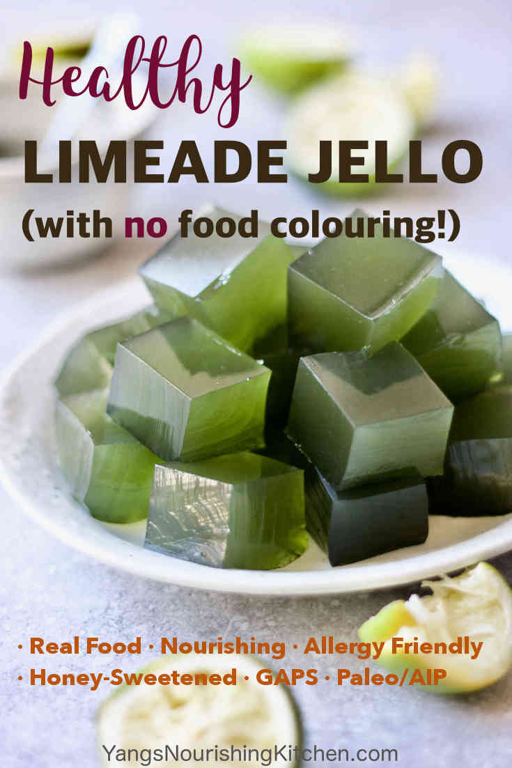 #jello #paleo #gaps #gelatin The beautiful green colour comes from spirulina and chlorella, giving the jello an extra nutrient boost. Made with real food, honey-sweetened, this healthy limeade jello is good for you and suitable for the Paleo and GAPS diets.