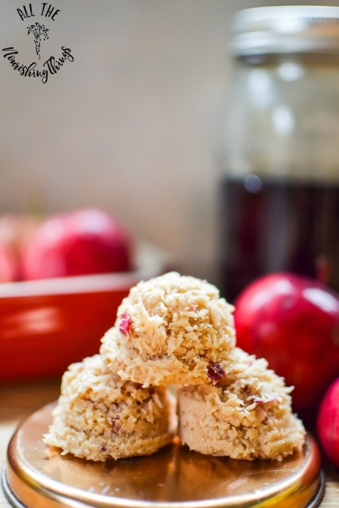 Paleo maple apple-cinnamon no-bake treats, featured in 65+ nutrient dense real food snack recipes.