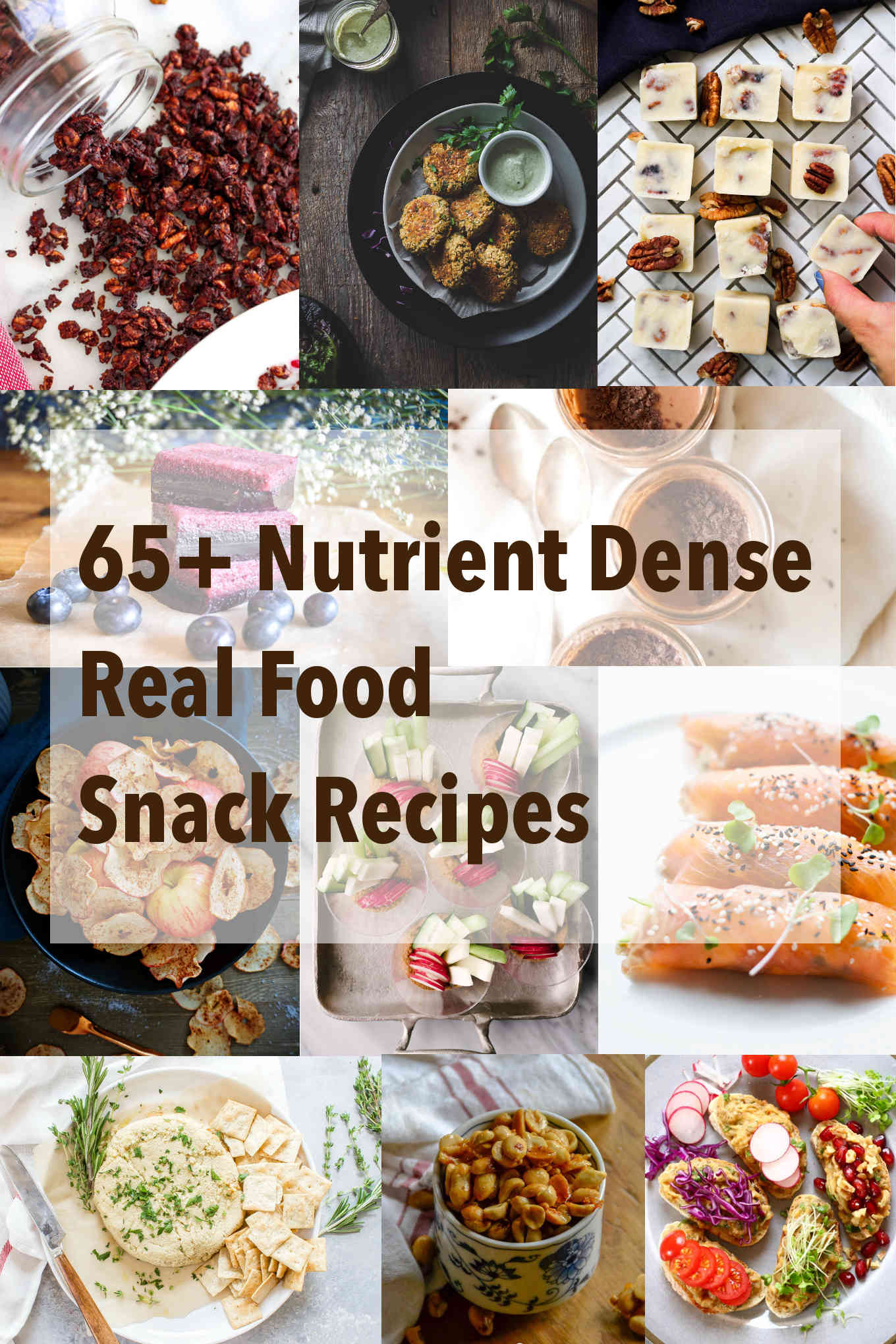 photo collage for 65+ nutrient dense real food snack recipes.