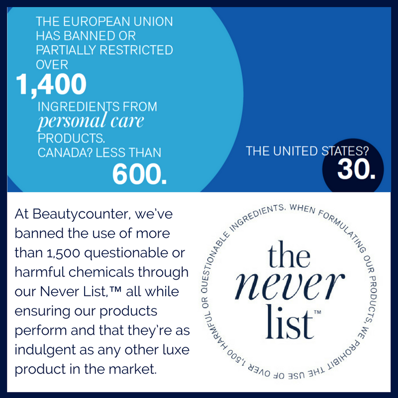 At Beautycounter, we've banned the use of more than 1,500 questionable or harmful chemicals through our Never list, all while ensuring our products perform and that they're as indulgent as any other luxe product in the market.