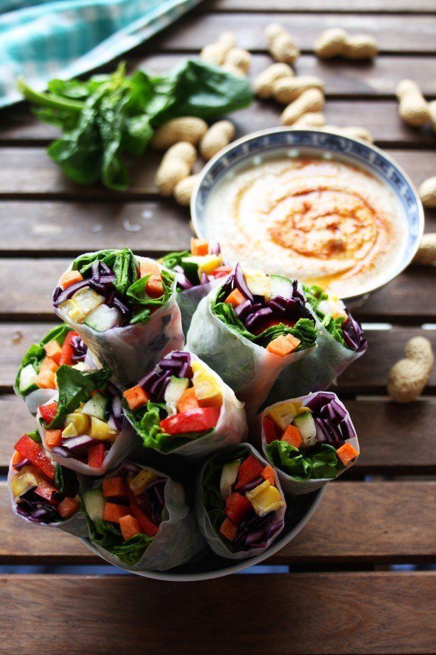Vegan spring rolls with peanut sauce, featured in 65+ nutrient dense real food snack recipes.