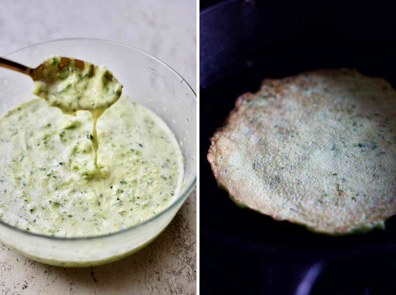 Gluten free zucchini crepe is made from only 5 ingredients, and cooked in the cast iron.