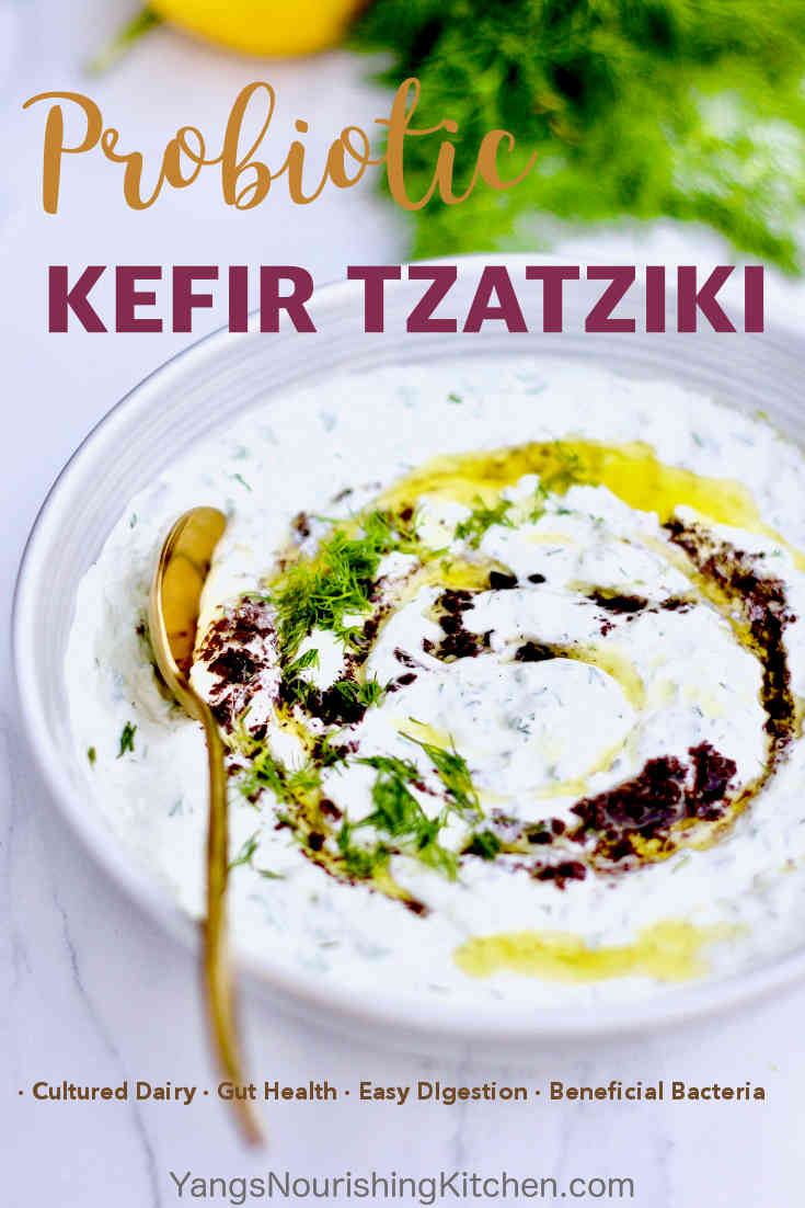 #kefir #tzatziki #guthealth Make your own tzatziki dip from one of the best probiotic source, milk kefir. This kefir tzatziki recipe is not only healthy for the digestive system, but also a tasty condiment for grilled meats and vegetables at summer BBQs.