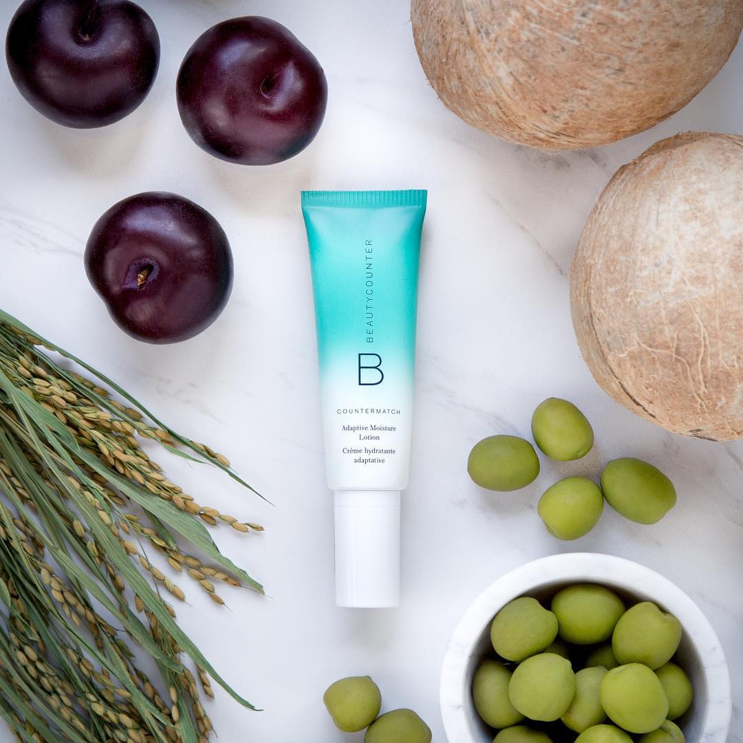 Beautycounter's adaptive moisture lotion strengthens our skin barriers with key components from plants.
