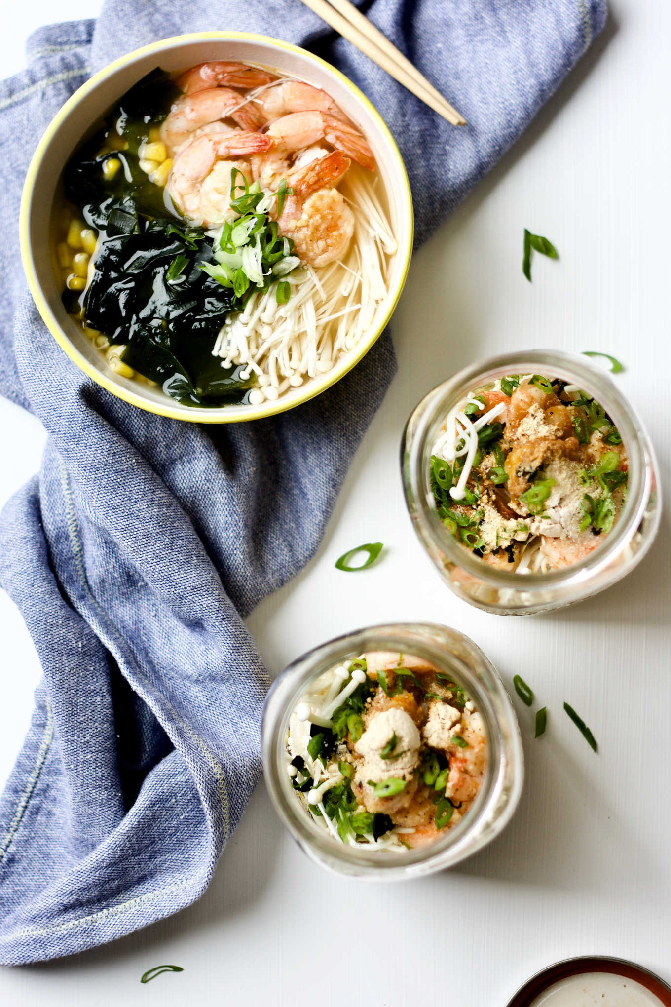 Asian seafood bone broth instant noodle jar.