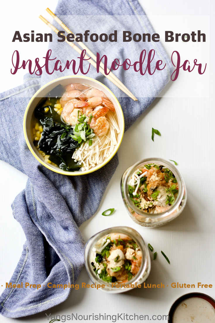Make a seafood noodle with classic Asian flavour combination. The bone broth powder will take the mason jar instant noodle to the next level. This is a great recipe for meal prep, portable work lunch, and taking to camping.