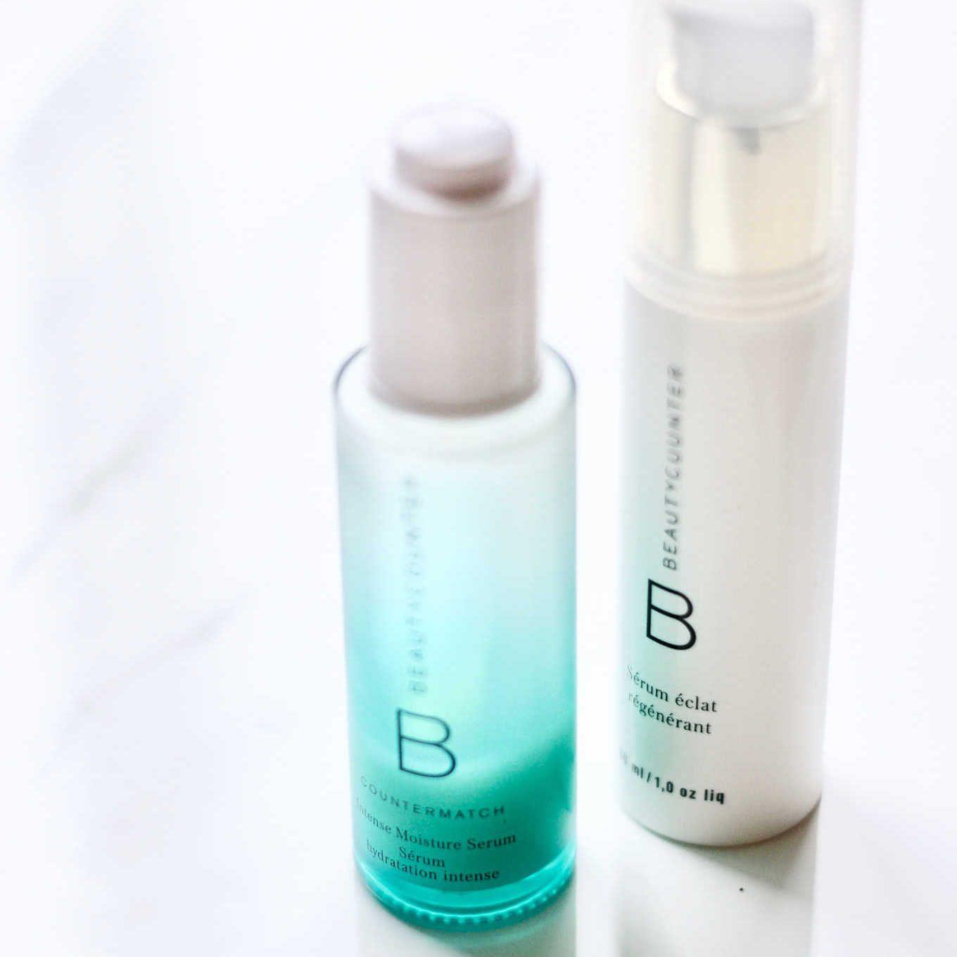 I use both Beautycounter's countermatch intense moisture serum and rejuvenating radiance serum.