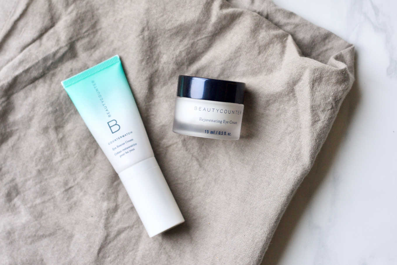 I use Beautycounter's countermatch eye rescue cream and rejuvenating eye cream.