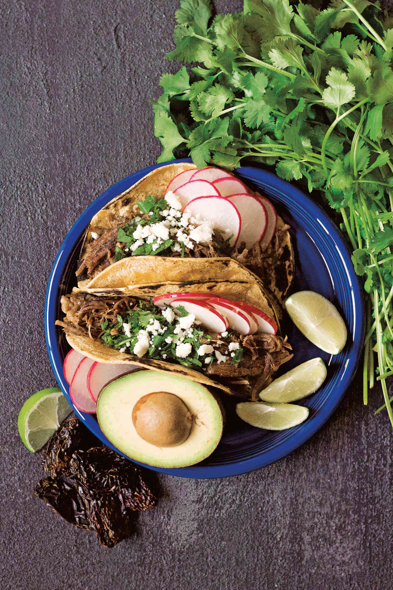 Shredded chipotle beef tacos from Amazing Mexican Favorites with Your Instatnt Pot cookbook.