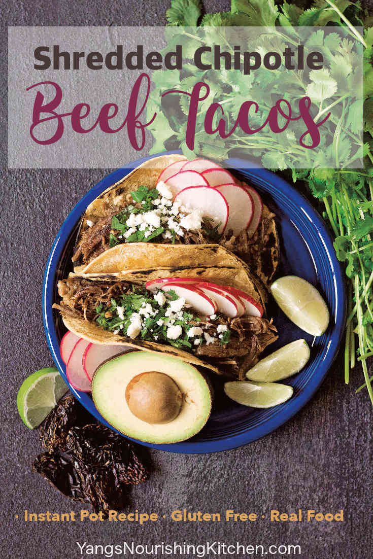 """#beef #taco #InstantPot #glutenfree Shredded Chipotle Beef Tacos (Tinga de Res Tacos) is from the Amazing Mexican Favorites with Your Instant Pot cookbook. This dish combines generous bites of beef with the saltiness of Mexican Chorizo in a smoky chipotle sauce. You will find my """"Amazing Mexican Favorites with your Instant Pot"""" book review below. Try your hands on this shredded chipotle beef tacos recipe, and enter for a chance to win your own copy byFebruary23, 2019."""