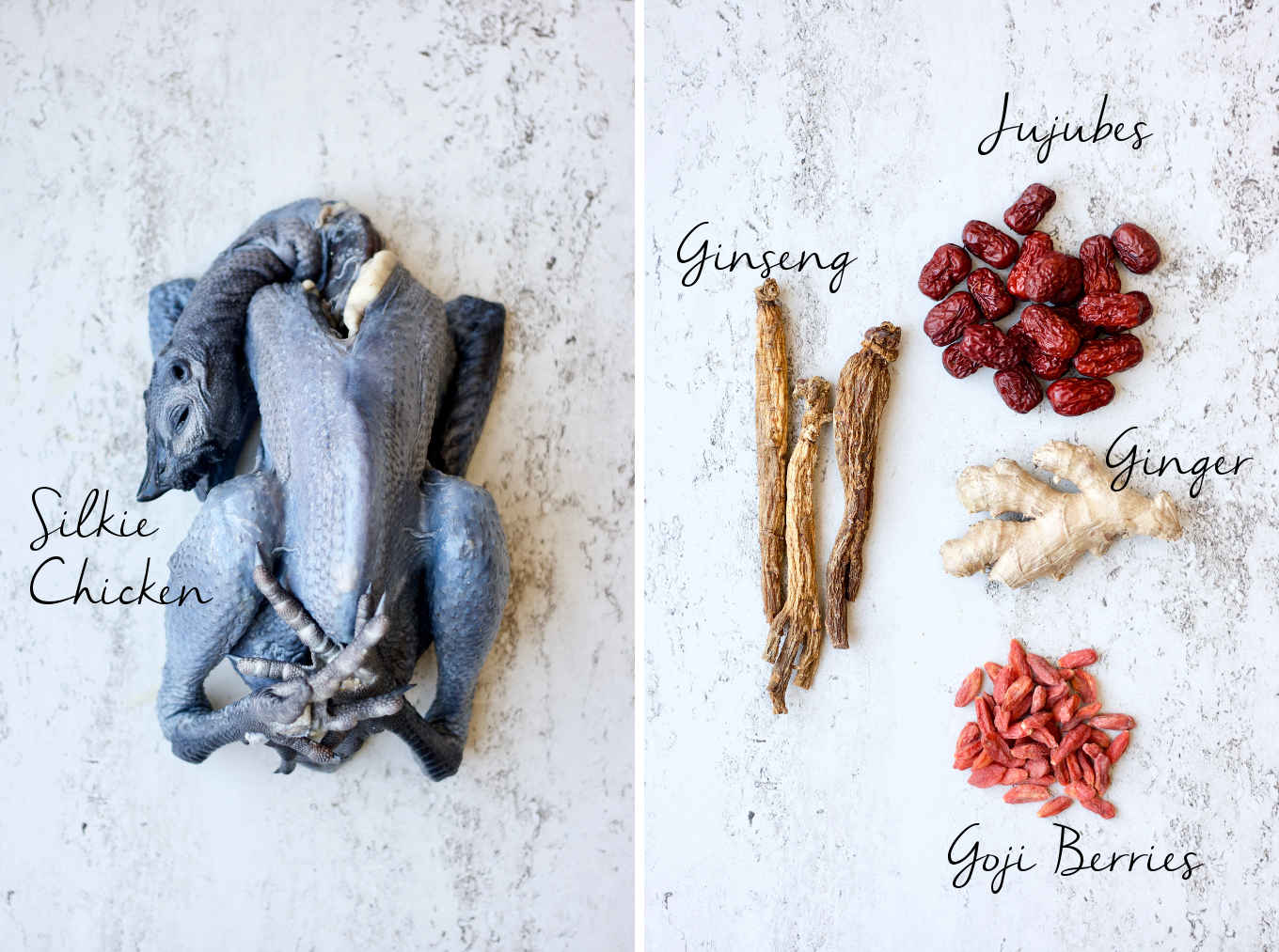 Ingredients for Chinese ginseng chicken soup: silkie chicken, ginseng, jujubes, ginger and goji berries.