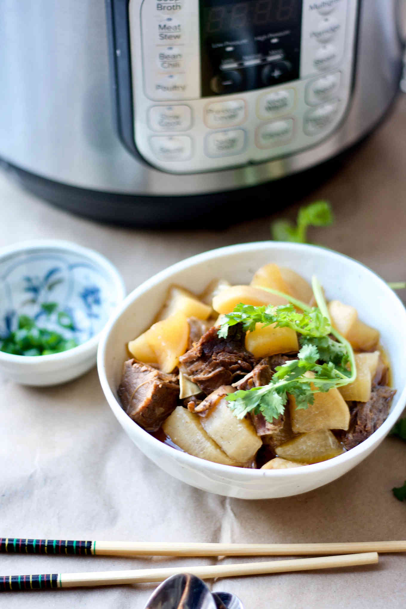 Instant Pot beef brisket stew with daikon radish, served in a bowl, beside the instant pot.