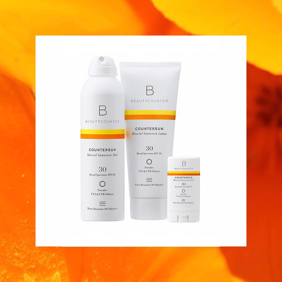 Beautycounter's countersun collection consists of: mineral sunscreen lotion, sunscreen stick, and sunscreen mist.