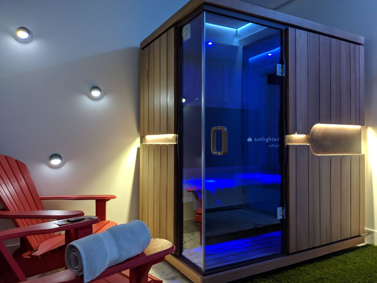 The infrared sauna room at Float Valley.