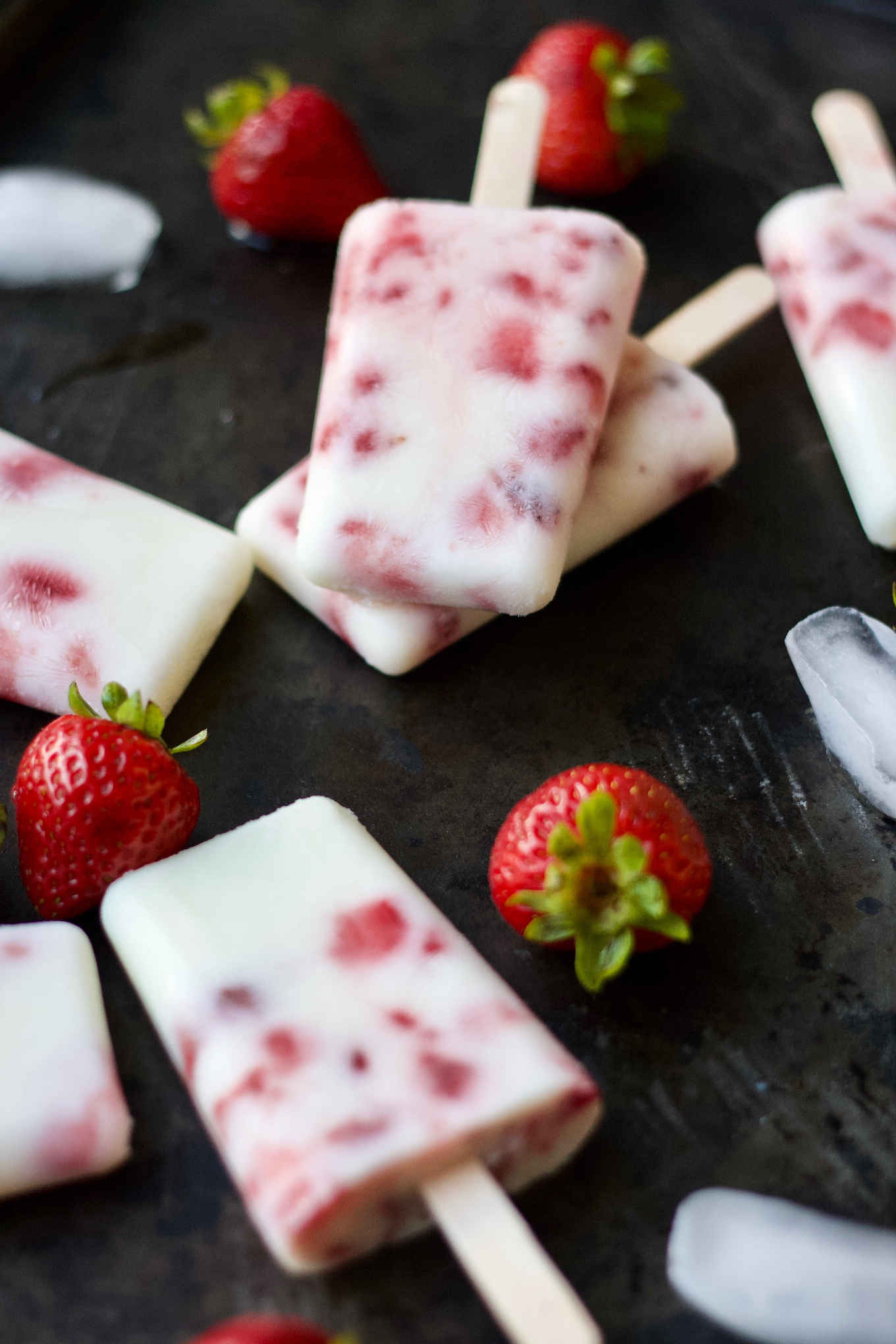 strawberry kefir popsicles made with 3 ingredients