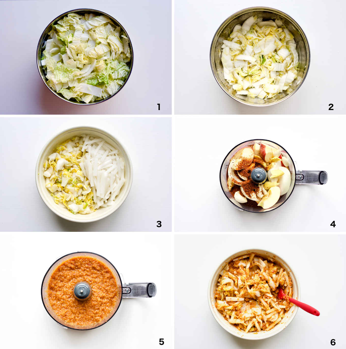 step by step photo illustration of how to make the apple fermented kimchi