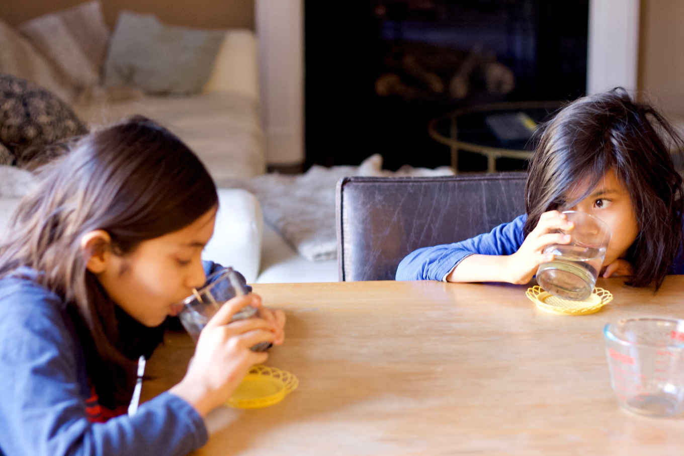 children taking an Epsom Salt (magnesium sulfate) drink for liver flush
