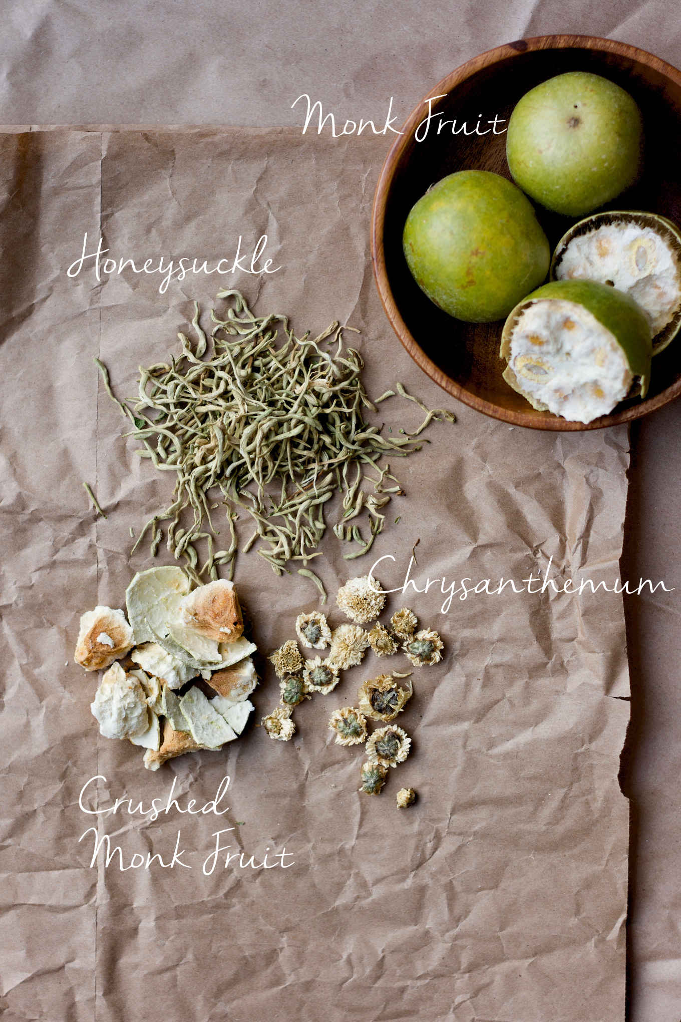 honeysuckle, monk fruit and chrysanthemum tea ingredients
