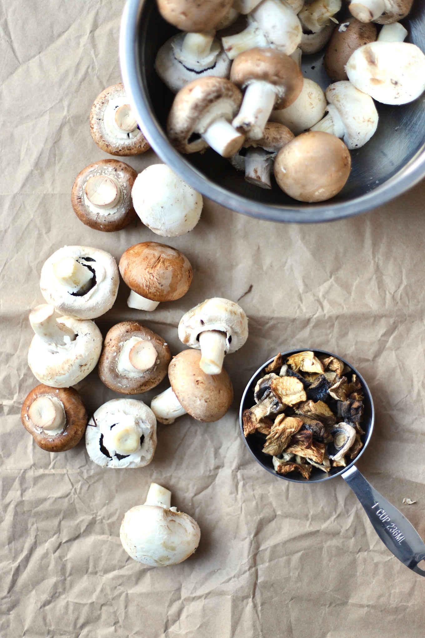a mixture of fresh mushrooms and dry mushrooms