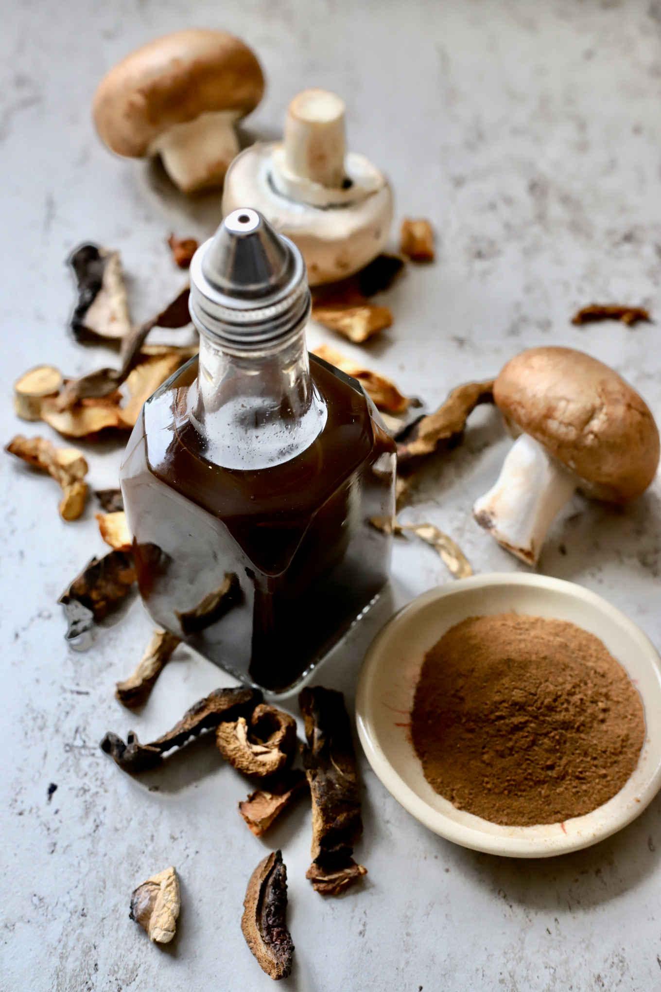 mushroom ketchup and spiced mushroom powder