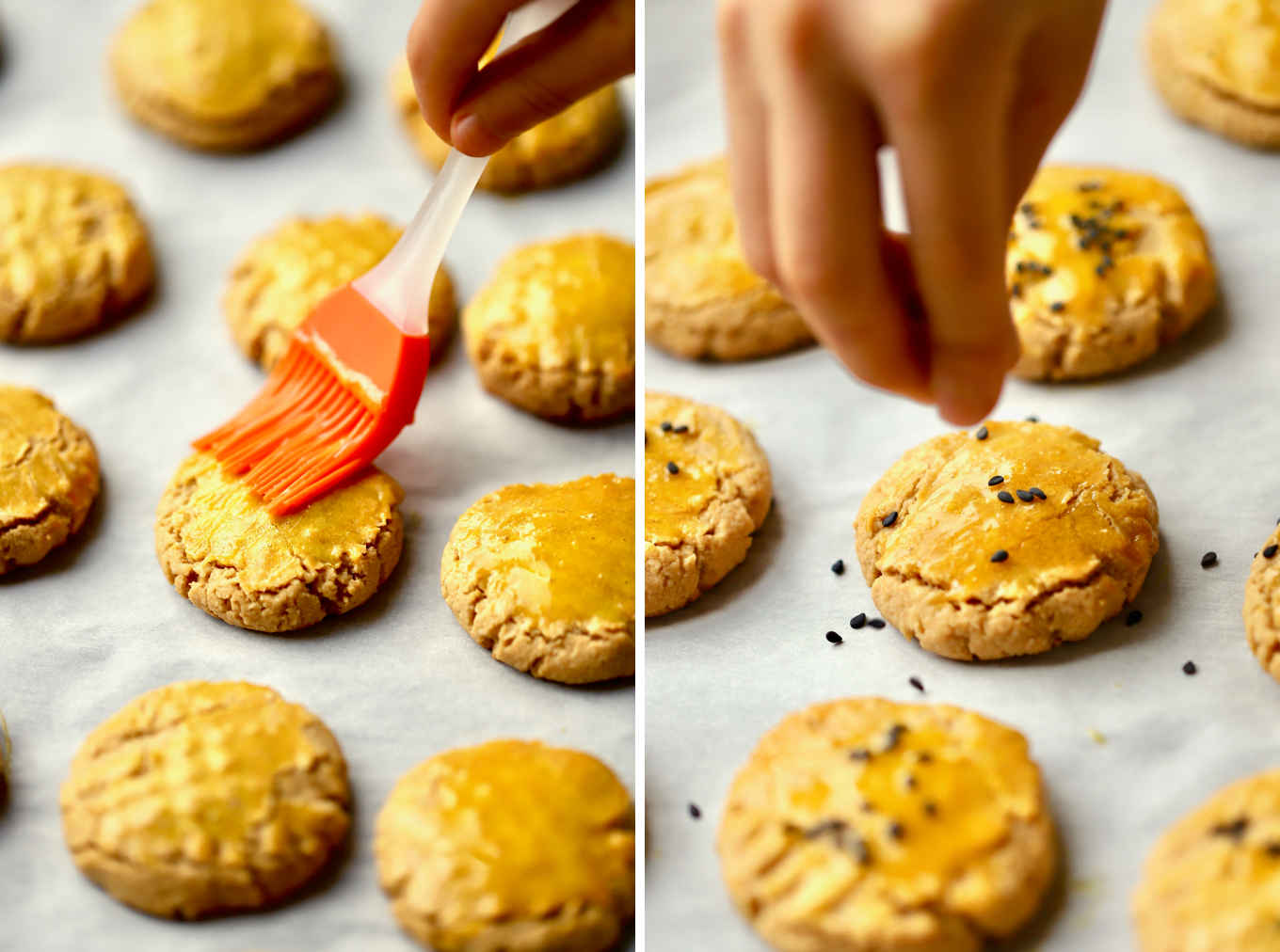 illustration of how to apply egg glaze and black sesame seed decoration on the almond sorghum cookies