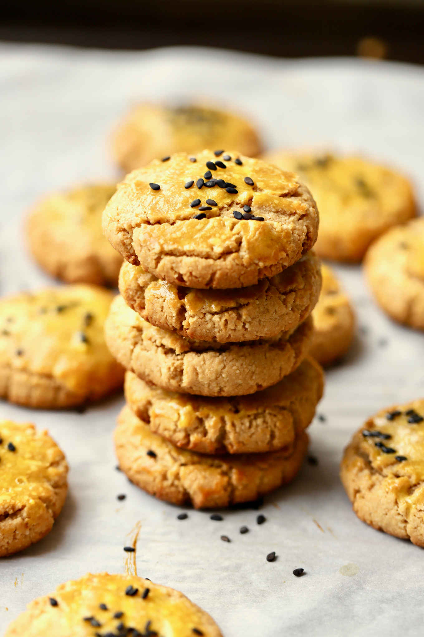 a stack of gluten-free almond sorghum cookies