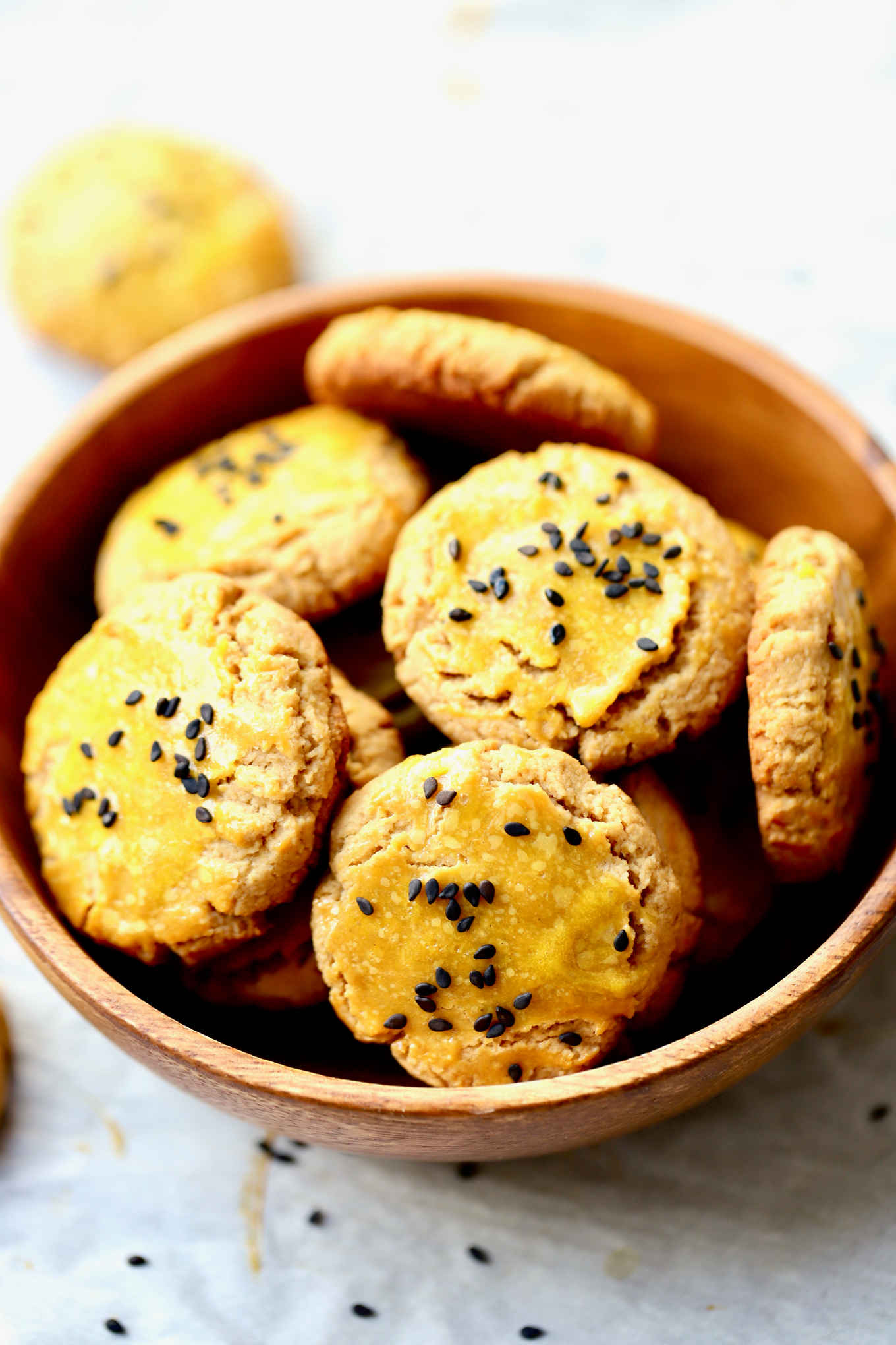 a bowl of gluten-free and refined-sugar free cookies