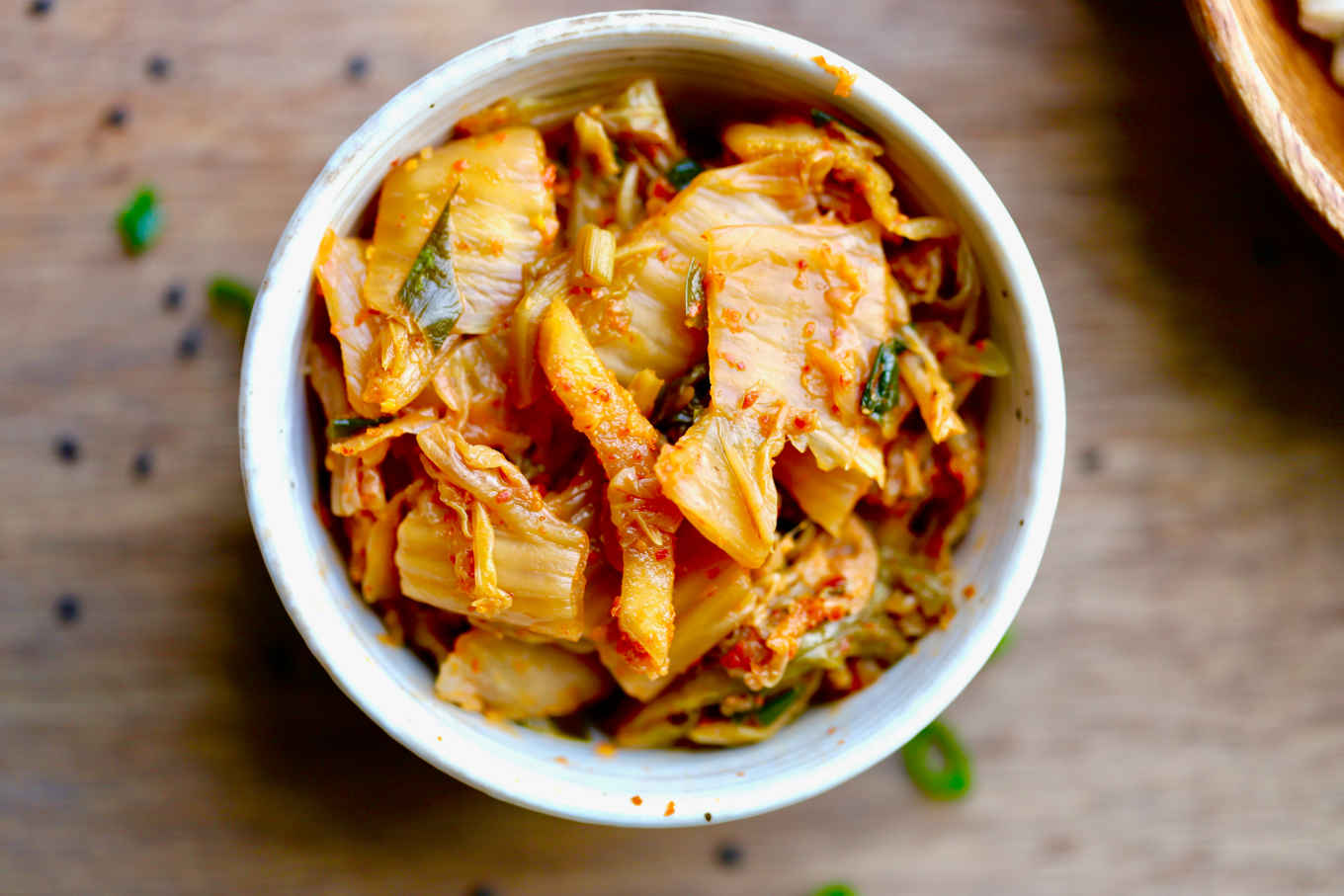 overhead shot of a bowl of probiotic fermented kimchi