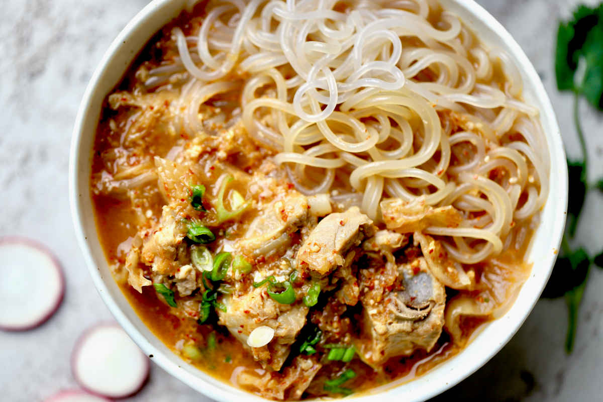 a cozy bowl of gluten-free noodle soup
