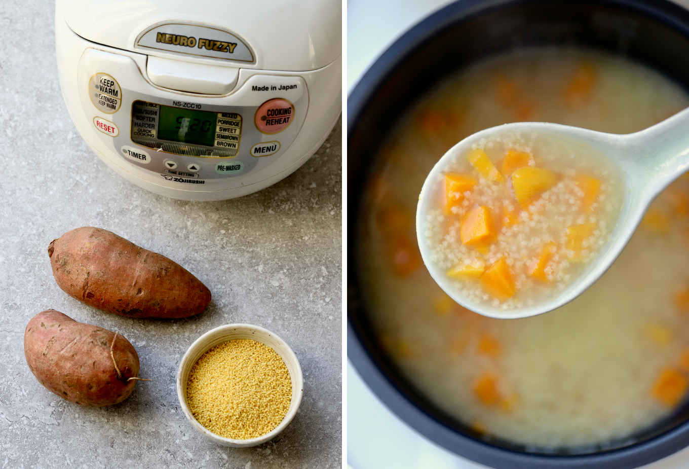 millet porridge can be prepared ahead of time in the rice cooker.