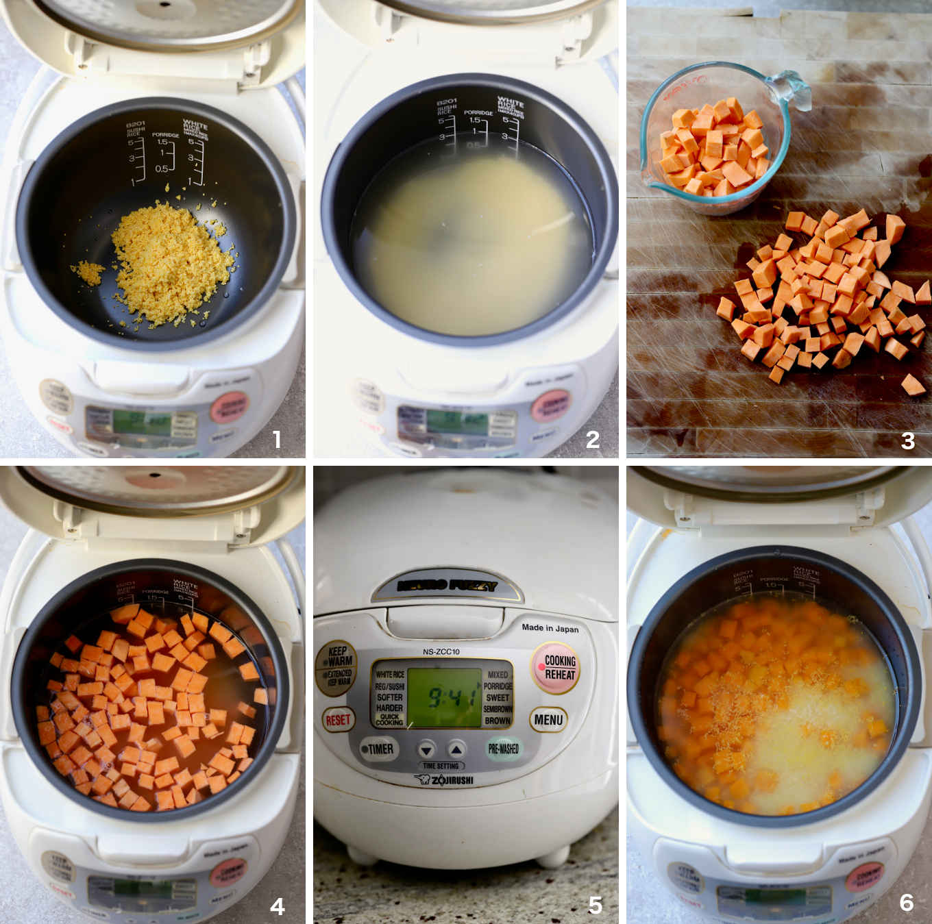 step to step illustration of how to make the sweet potato millet porridge in a rice cooker