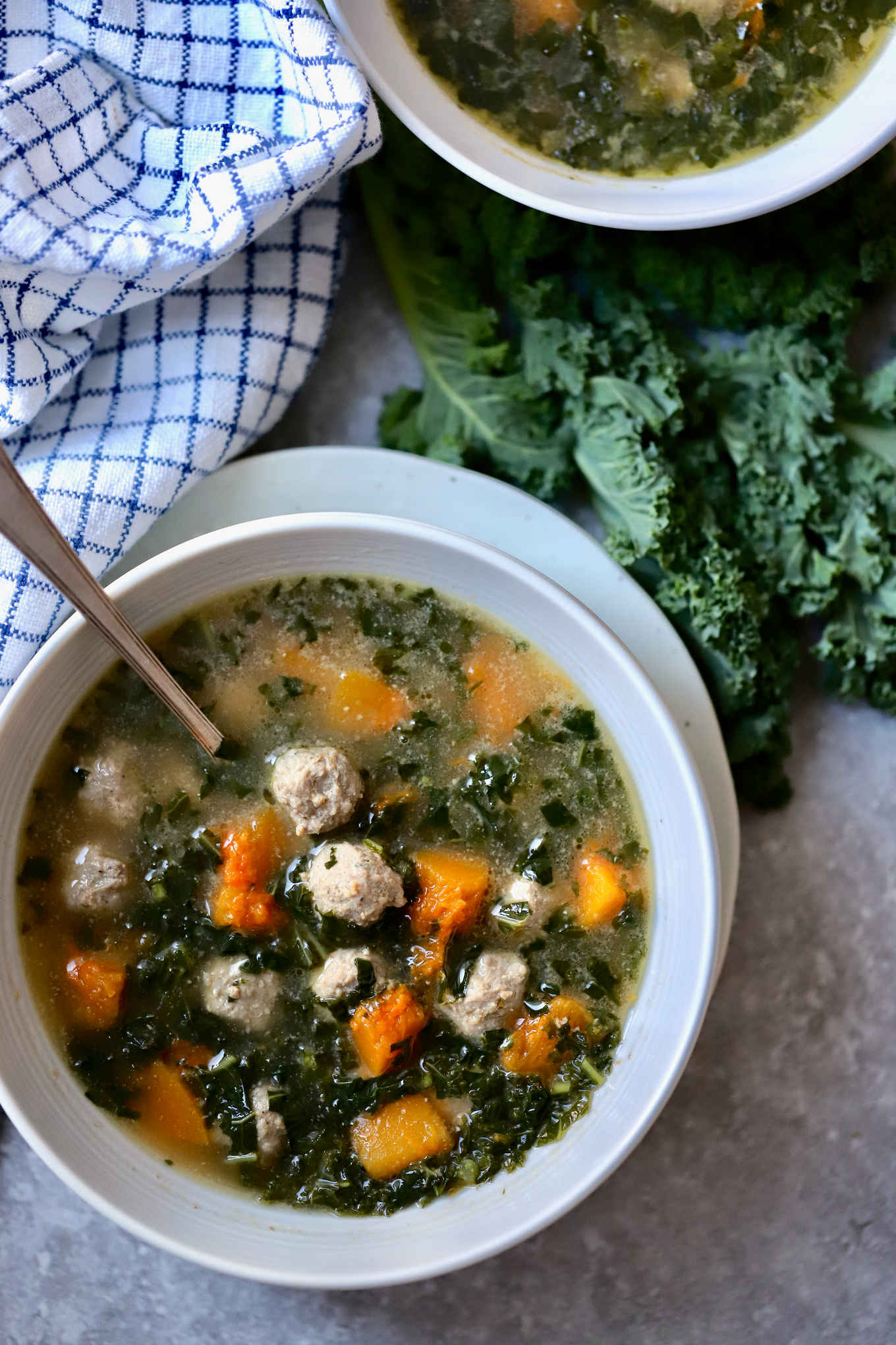 meatball, winter squash and kale soup